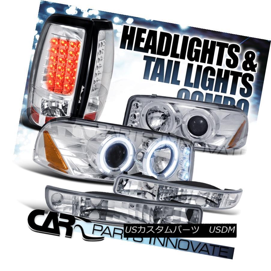 ヘッドライト 99-03 Sierra Fleetside Chrome Projector Headlights+Bumper Lamps+LED Tail Lights 99-03 Sierra Fleetsideクロムプロジェクターヘッドライト+バーン 、ランプ+ LEDテールライト