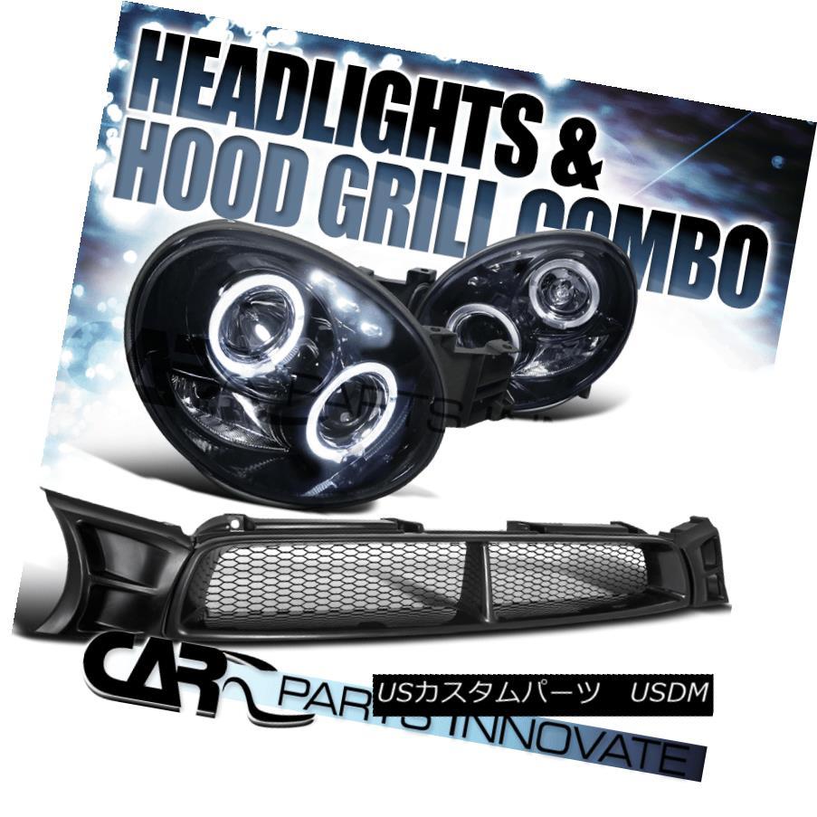 ヘッドライト For 02-03 Impreza WRX LED Glossy Black Halo Projector Headlights+Hood Grille 02-03 Impreza WRX LED光沢ブラックハロープロジェクターヘッドライト+ Hoo  d Grille