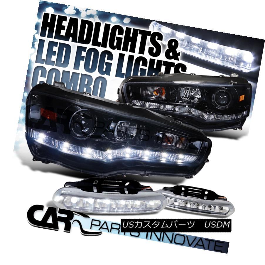 ヘッドライト Glossy Black 08-15 Lancer R8 SMD Projector Headlights+6-LED Bumper Fog Lamps 光沢ブラック08-15ランサーR8 SMDプロジェクターヘッドライト+ 6-L  EDバンパーフォグランプ