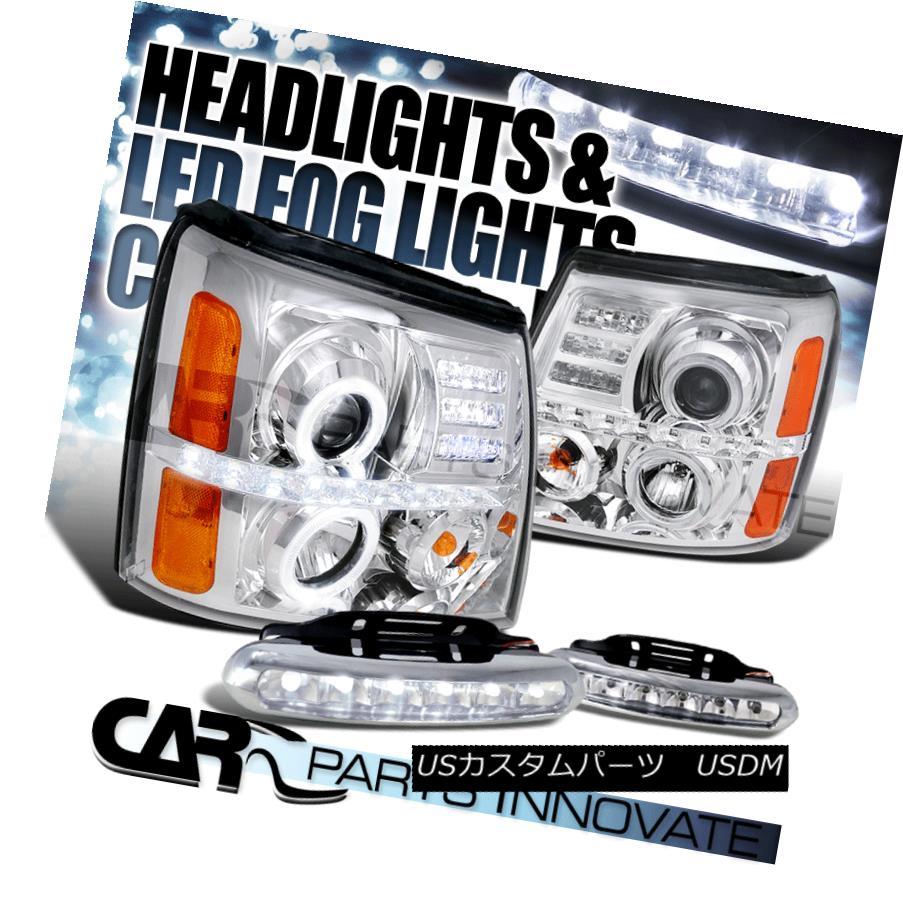 ヘッドライト Chrome 02-06 Cadillac Escalade Dual Halo Projector Headlights+6-LED Fog Lamps Chrome 02-06キャデラックエスカレードデュアルハロープロジェクターヘッドライト+ 6-L  EDフォグランプ