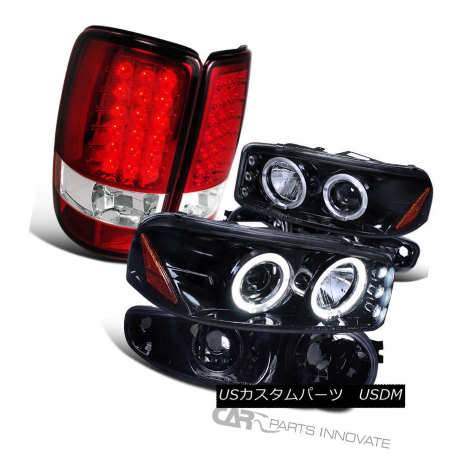 ヘッドライト 01-06 Yukon Glossy Black LED Projector Headlights+Bumper+Red/Clear LED Tail Lamp 01-06ユーコングロッシーブラックLEDプロジェクターヘッドライト+バーン +レッド/クリアLEDテールランプ
