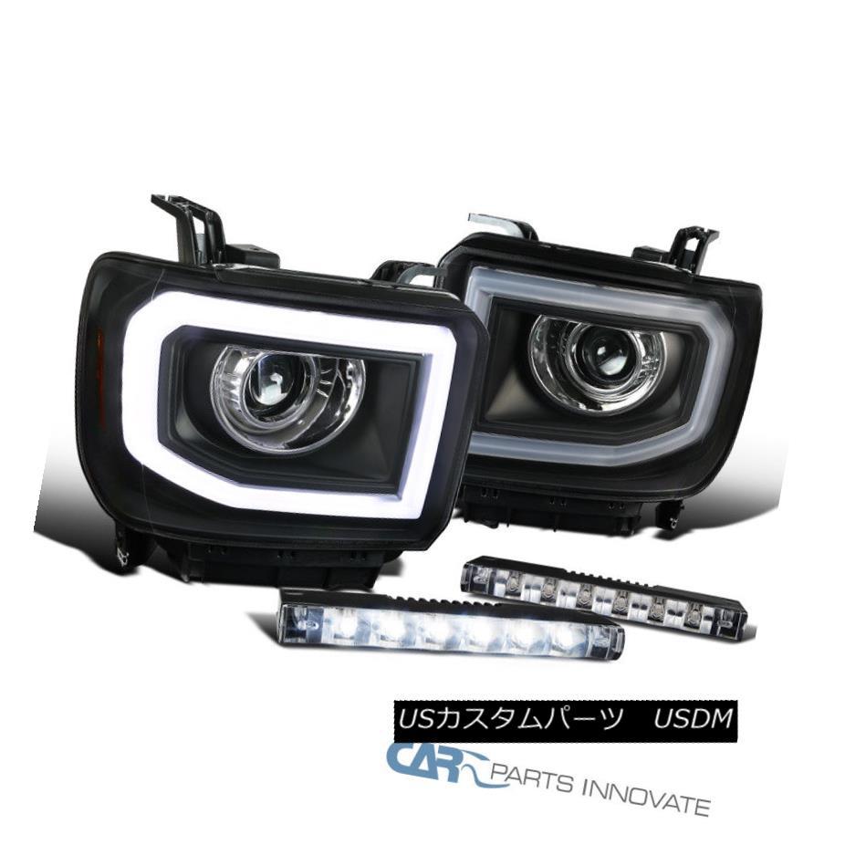 ヘッドライト GMC 14-16 Sierra LED DRL+Signal Strip Black Projector Headlights+LED Fog Lights GMC 14-16 Sierra LED DRL +信号ストリップ黒プロジェクターヘッドライト+ LEDフォグライト