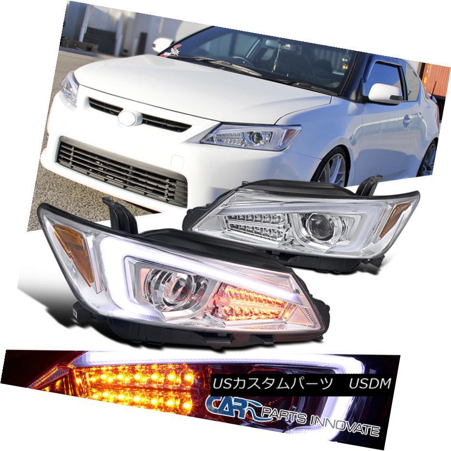 ヘッドライト 2011-2013 Scion tC Chrome Projector Headlights+LED Signal+LED Strip 2011-2013シオンtCクロームプロジェクターヘッドライト+ LED信号+ LEDストリップ