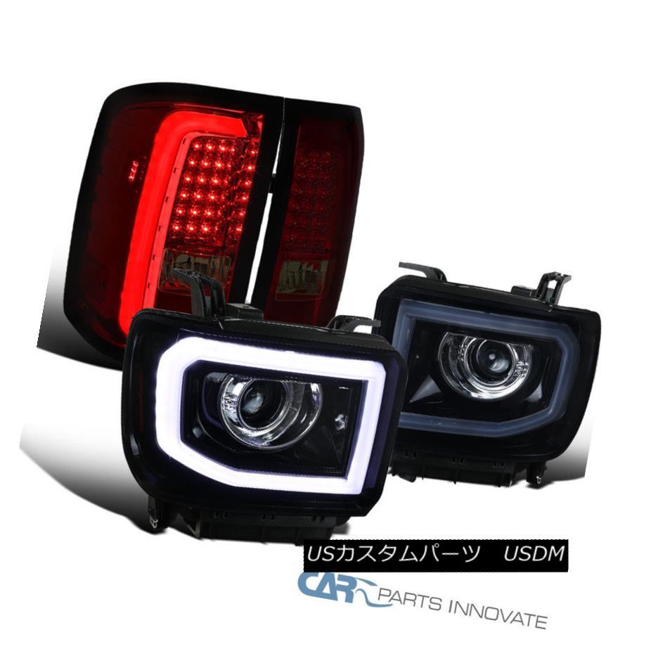ヘッドライト GMC 14-16 Sierra Glossy Black LED Projector Headlights+Red/Smoke LED Tail Lamps GMC 14-16シエラグロッシーブラックLEDプロジェクターヘッドライト+レッド /スモークLEDテールランプ
