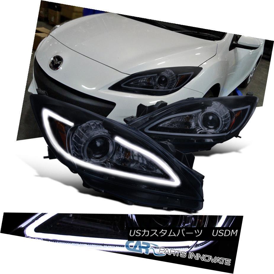 ヘッドライト Glossy Black 10-13 Mazda 3 Replacement Smoke Lens Projector Headlights+LED Strip Glossy Black 10-13 Mazda 3交換用煙霧レンズプロジェクターヘッドライト+ LEDストリップ