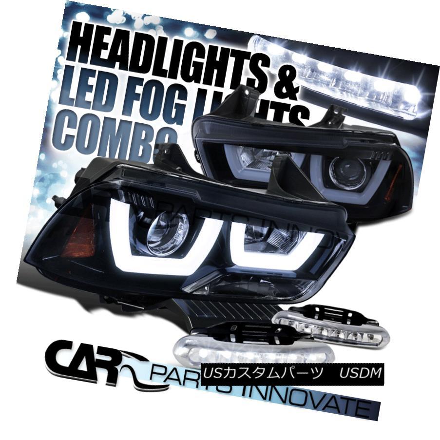 ヘッドライト 11-14 Charger Glossy Black Iced LED Halo Projector Headlights+6-LED Fog Lamps 11-14チャージャー光沢ブラックアイスLEDハロープロジェクターヘッドライト+ 6-L  EDフォグランプ