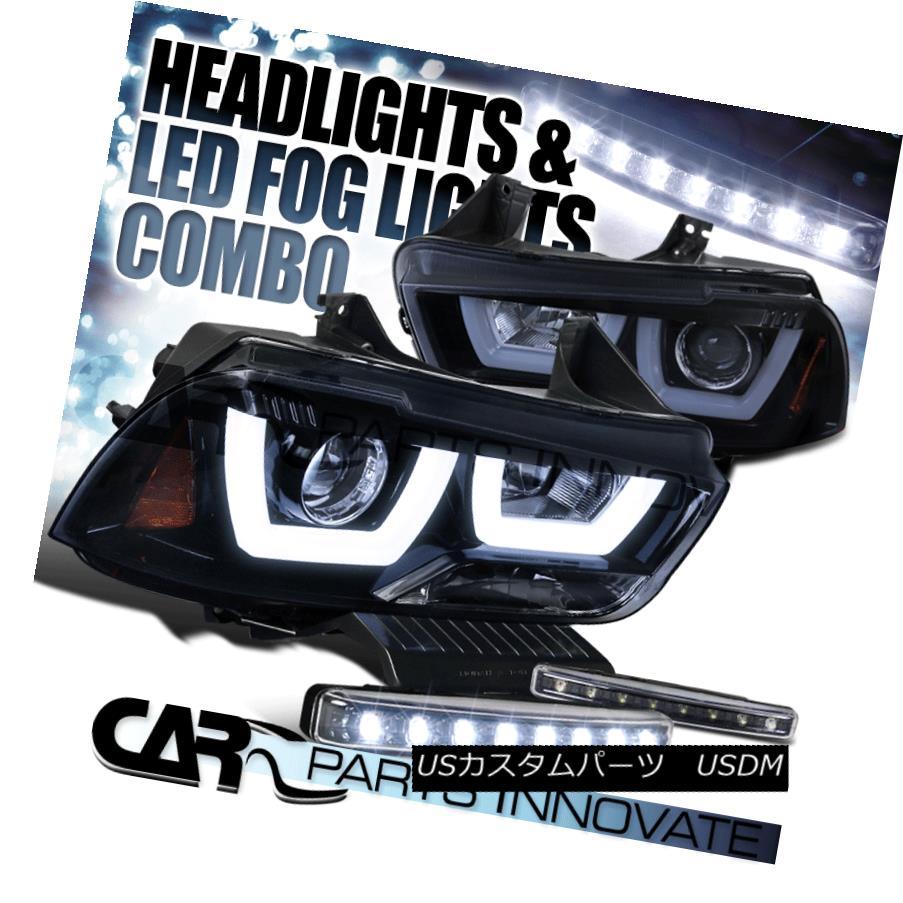 ヘッドライト 11-14 Charger Glossy Black Iced Dual Halo Projector Headlights+8-LED Fog Lamps 11-14充電器の光沢ブラックアイスデュアルハロープロジェクターヘッドライト+ 8-L  EDフォグランプ
