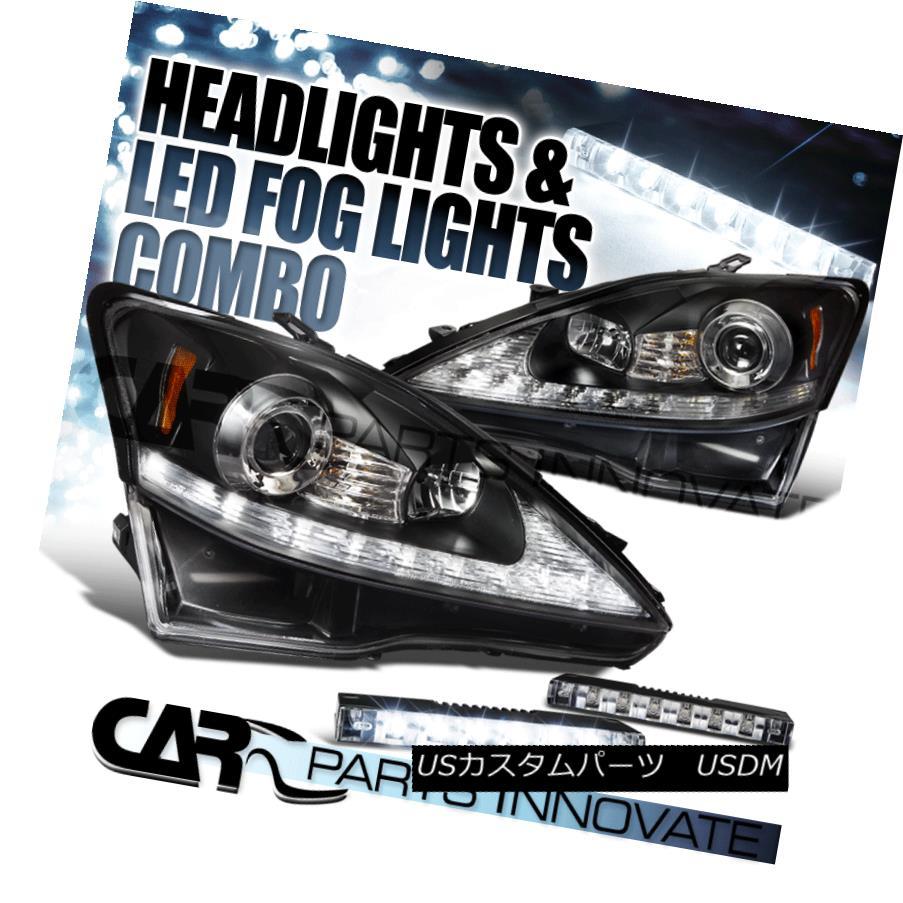 ヘッドライト 06-09 IS250 IS350 Black SMD LED Strip Projector Headlights+LED Signal+6-LED Fog 06-09 IS250 IS350ブラックSMD LEDストリッププロジェクターヘッドライト+ LED信号+ 6-LEDフォグ