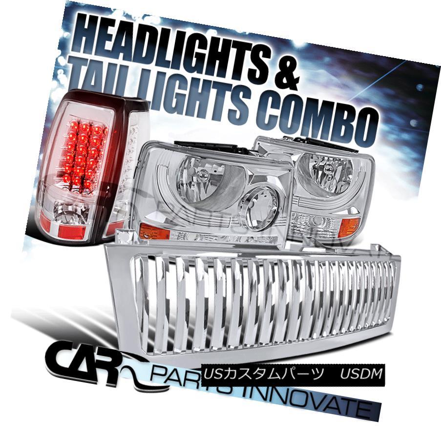 ヘッドライト 99-02 Silverado 1500 2in1 Chrome Head Bumper Lights+Hood Grille+LED Tail Lamps 99-02 Silverado 1500 2in1クロムヘッドバンパーライト+フードグリル+ LEDテールランプ