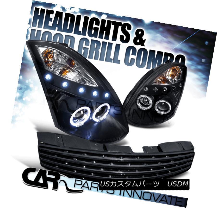 ヘッドライト For 2003-2007 Infiniti G35 2Dr Black Halo LED Projector Headlights+Hood Grille 2003-2007インフィニティG35 2DrブラックハローLEDプロジェクターヘッドライト+ Hoo  d Grille