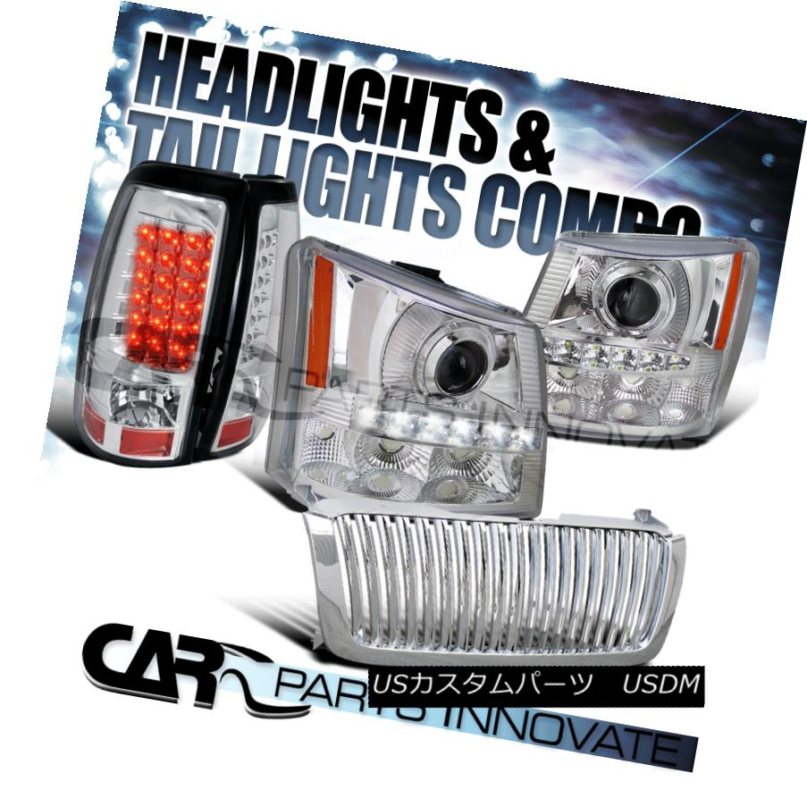 ヘッドライト 03-05 Silverado 2in1 Chrome Projector Head Bumper Light+SMD LED+Grille+Tail Lamp 03-05 Silverado 2in1 Chromeプロジェクターヘッドバンパーライト+ SMD LED +グリル+タイ lランプ