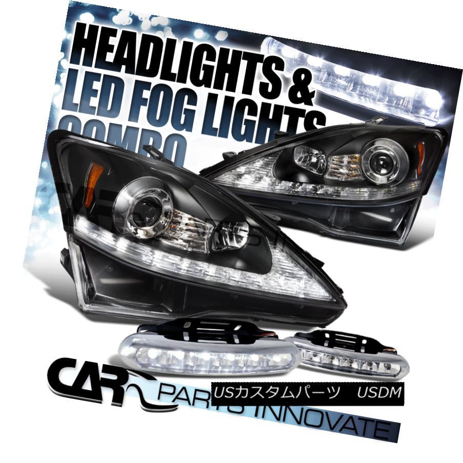 ヘッドライト 2006-2009 Lexus IS250 IS350 Black SMD LED Strip Projector Headlights+LED Fog DRL 2006-2009レクサスIS250 IS350ブラックSMD LEDストリッププロジェクターヘッドライト+ LEDフォグDRL