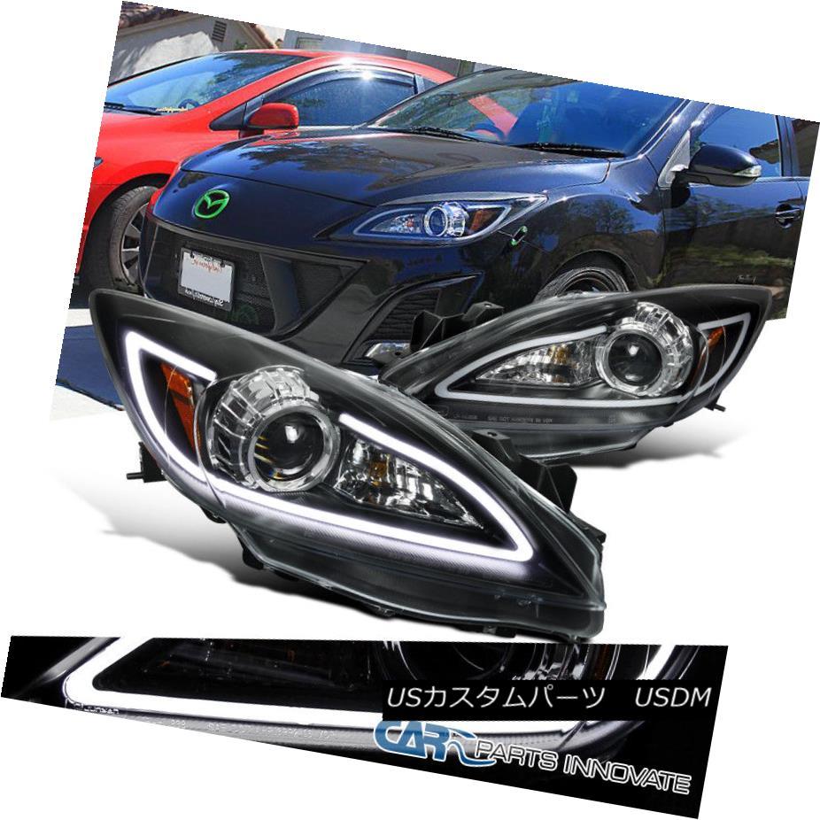 ヘッドライト 10-13 Mazda 3 Replacement Halogen Black Projector Headlights w/ LED DRL Strip 10-13 Mazda 3つの交換用ハロゲン黒プロジェクターヘッドライト(LED DRLストリップ付)