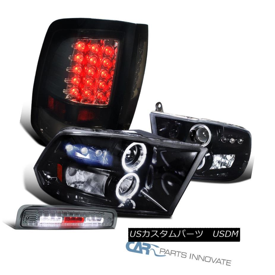 ヘッドライト 2009-2013 Ram Glossy Black Projector Headlights+LED Tail+Smoke LED 3rd Brake 2009-2013ラム光沢ブラックプロジェクターヘッドライト+ LEDテール+スモークLED第3ブレーキ