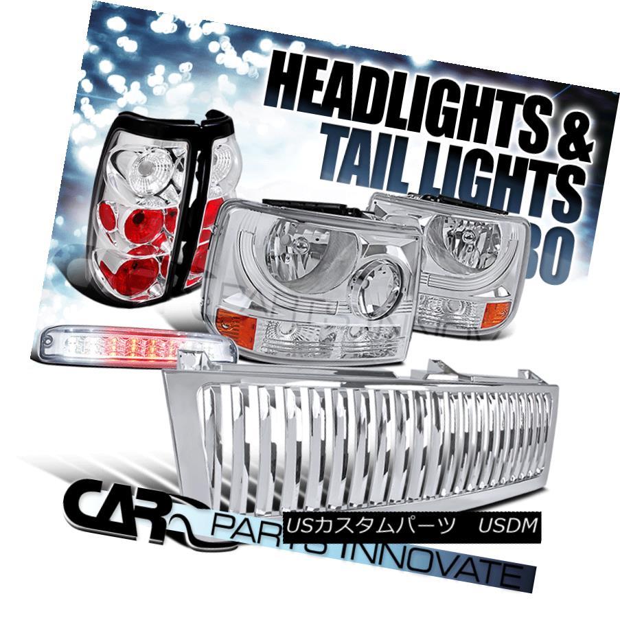 ヘッドライト 99-02 Silverado 2in1 Chrome Headlights+Grille+Tail Lamps LED 3rd Brake Light 99-02 Silverado 2in1クロームヘッドライト+グリップ lle +テールランプLED第3ブレーキライト