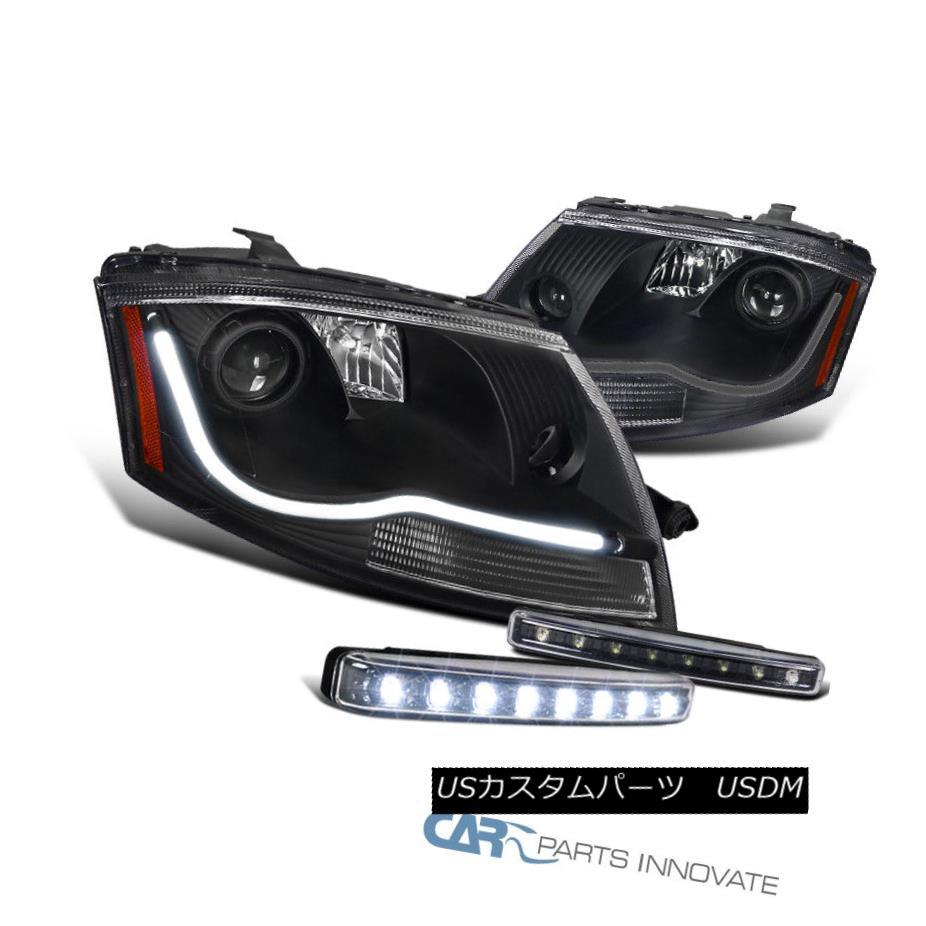 ヘッドライト Fit 99-06 Audi TT Black LED DRL Projector Headlights+8-LED Bumper Fog Lamps Pair フィット99-06 Audi TTブラックLED DRLプロジェクターヘッドライト+ 8-L  EDバンパーフォグランプペア