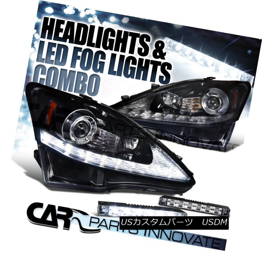 ヘッドライト Glossy Black 06-09 IS250 IS350 SMD LED Strip Projector Headlights+6-LED Fog Lamp 光沢ブラック06-09 IS250 IS350 SMD LEDストリッププロジェクターヘッドライト+ 6-L  EDフォグランプ