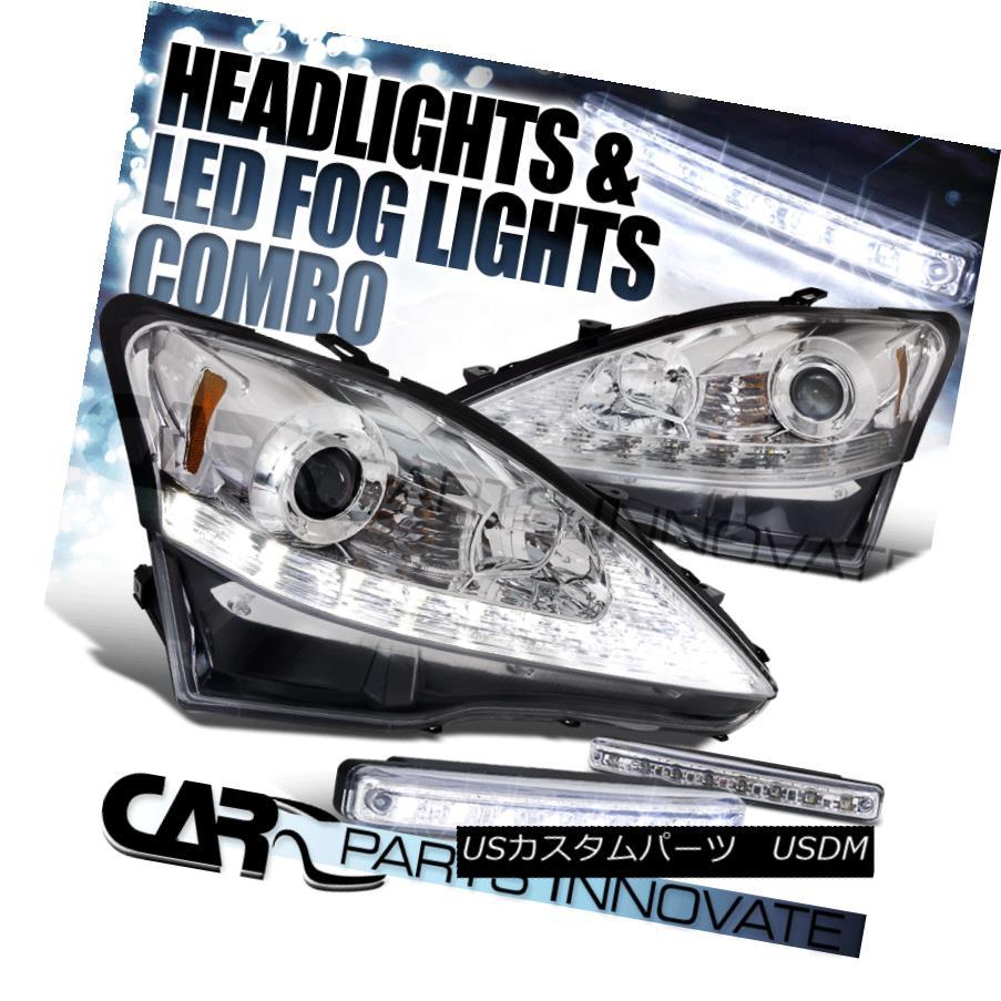 ヘッドライト 2006-2009 IS250 IS350 Chrome SMD LED Strip Projector Headlights+8-LED Fog Lamps 2006-2009 IS250 IS350 Chrome SMD LEDストリッププロジェクターヘッドライト+ 8-L  EDフォグランプ