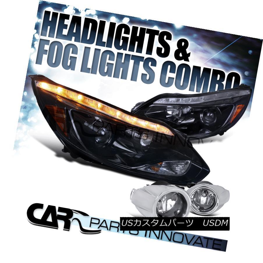 ヘッドライト Glossy Black 12-14 Ford Focus Projector Headlights+LED Signal+Fog Lamp+H11 Bulbs 光沢のある黒12-14フォードフォーカスプロジェクターヘッドライト+ LED信号+フォグランプ+ H11バルブ
