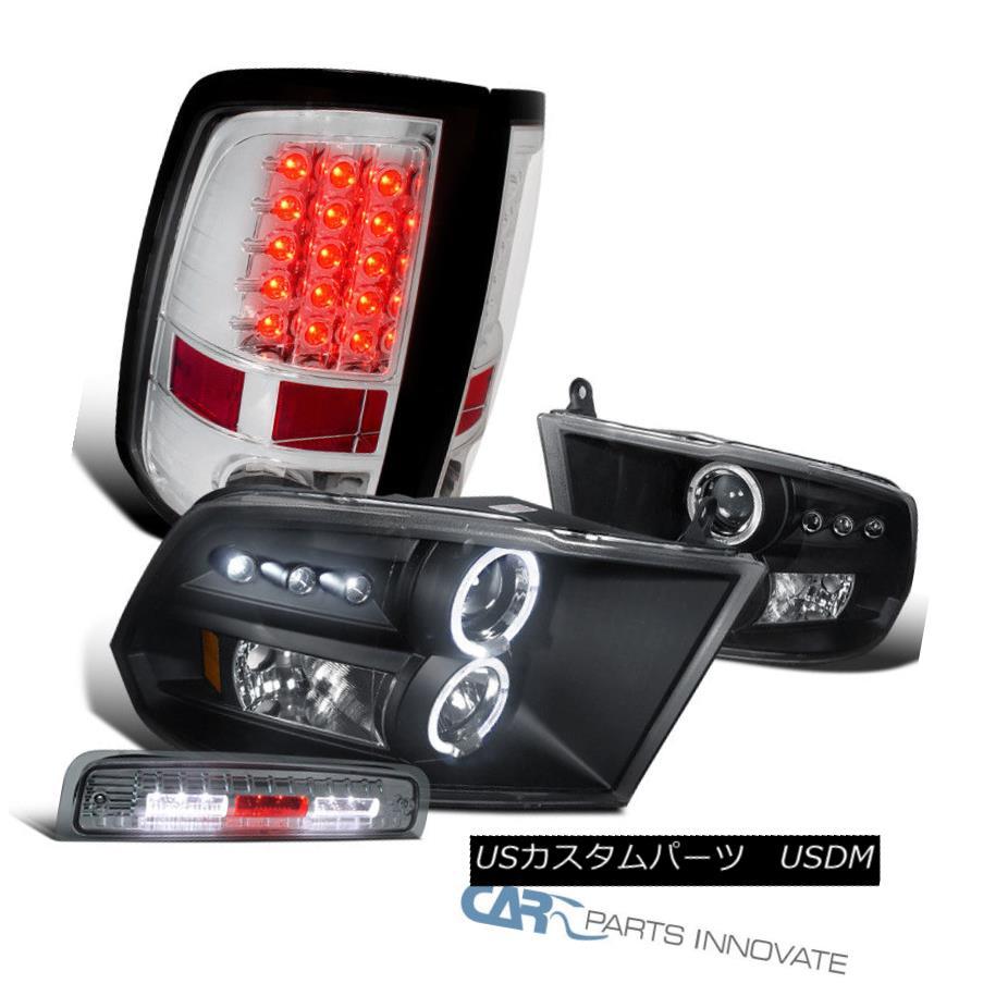ヘッドライト 2009-2013 Ram Black Projector Headlights+Clear LED Tail+Smoke LED 3rd Brake Lamp 2009-2013ラムブラックプロジェクターヘッドライト+ Cle  ar LEDテール+ Smoke LED第3ブレーキランプ