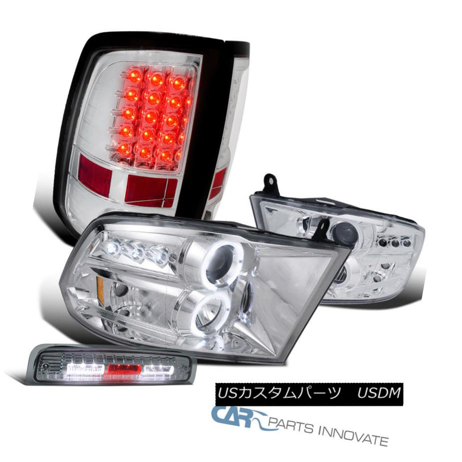 ヘッドライト 09-13 Dodge Ram Chrome Projector Headlights+LED Tail+Smoke LED 3rd Brake Lamp 09-13ダッジラムクロームプロジェクターヘッドライト+ LEDテール+スモークLED第3ブレーキランプ