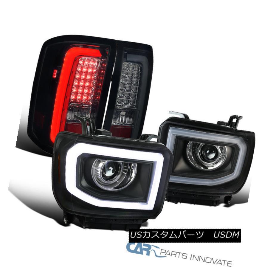 ヘッドライト 14-16 Sierra Black LED Projector Headlights+Glossy Black LED Tail Brake Lamps 14-16 Sierra Black LEDプロジェクターヘッドライト+グロー ssyブラックLEDテールブレーキランプ