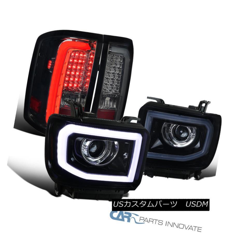 ヘッドライト 14-16 Sierra Glossy Black LED Projector Headlights+Smoke LED Tail Brake Lamps 14-16シエラ・グロッシー・ブラックLEDプロジェクター・ヘッドライト+スモーク ke LEDテール・ブレーキ・ランプ