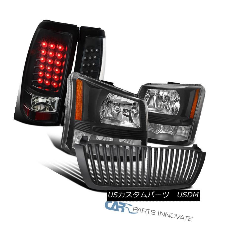 ヘッドライト Chevy 03-05 Silverado 2in1 Black Head Bumper Lights+Hood Grille+LED Tail Lamps Chevy 03-05 Silverado 2in1ブラックヘッドバンパーライト+フードグリル+ LEDテールランプ