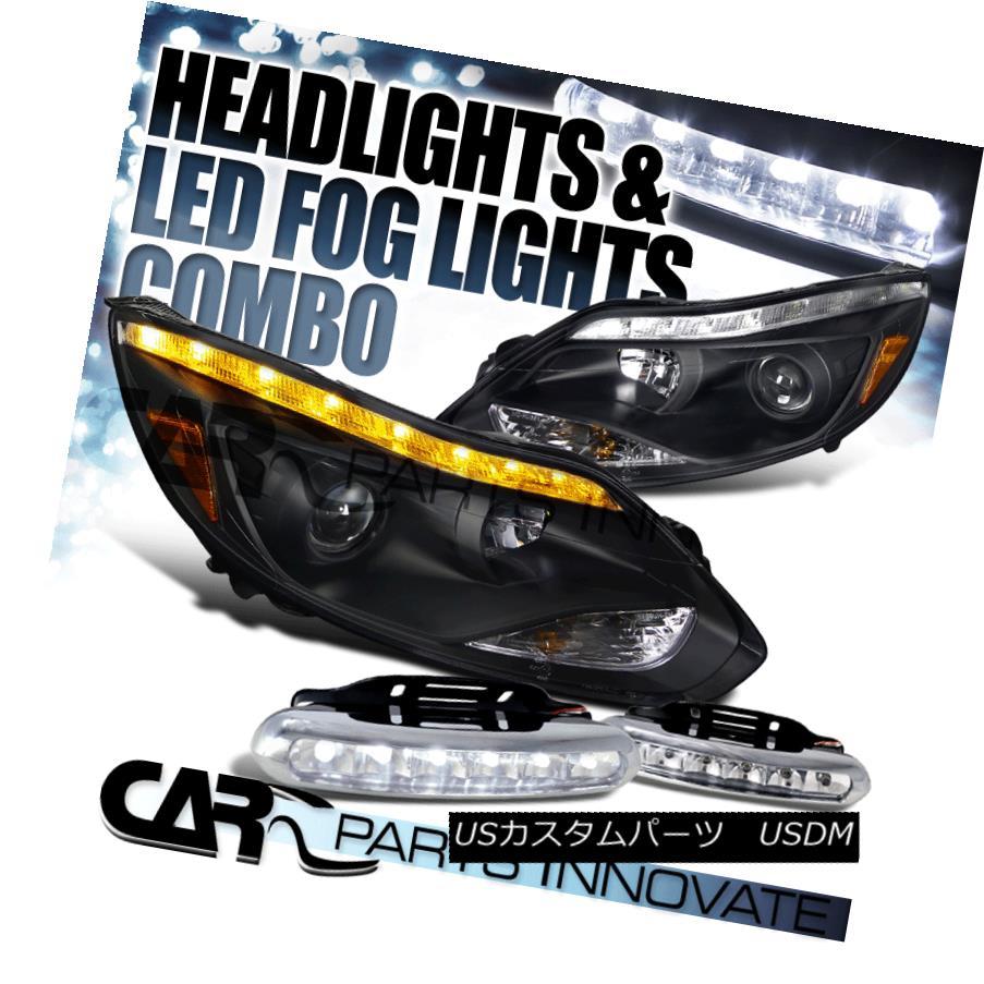 ヘッドライト 12-14 Ford Focus Black Projector Headlights+LED Signal Strip+LED Fog Bumper DRL 12-14 Ford Focusブラックプロジェクターヘッドライト+ LEDシグナルストリップ+ LEDフォグバンパーDRL