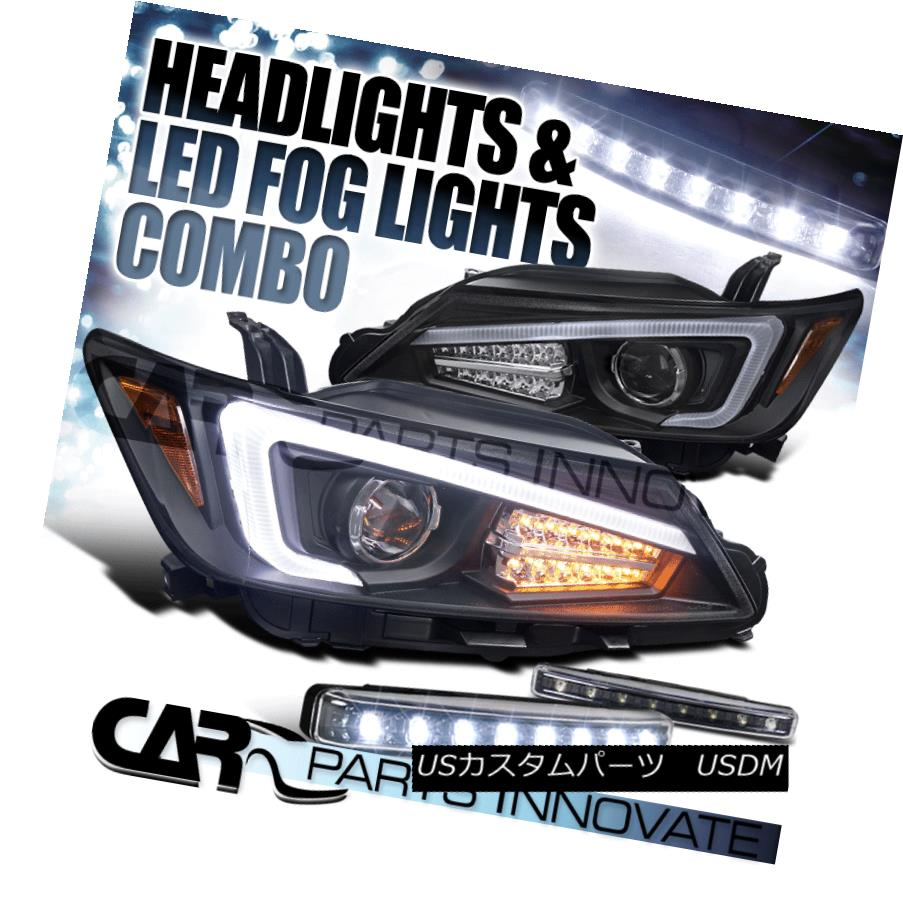 ヘッドライト 2011-2013 Scion tC Black Projector Headlights+LED Signal+8-LED Fog Bumper DRL 2011-2013シオンtCブラックプロジェクターヘッドライト+ LED信号+ 8-LEDフォグバンパーDRL