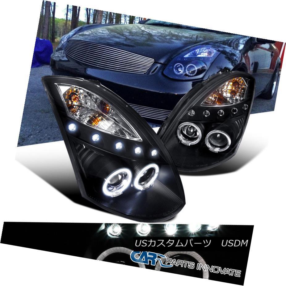 ヘッドライト For Infiniti 03-07 G35 2Dr Coupe Black LED Halo Projector Headlights Head Lamps インフィニティ用03-07 G35 2DrクーペブラックLEDハロープロジェクターヘッドライトヘッドランプ