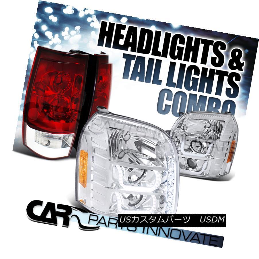 ヘッドライト 07-14 Yukon XL 1500 2500 Clear Halo Projector Headlights+Red Clear Tail Lamps 07-14ユーコンXL 1500 2500クリアハロープロジェクターヘッドライト+レッドクリアテールランプ