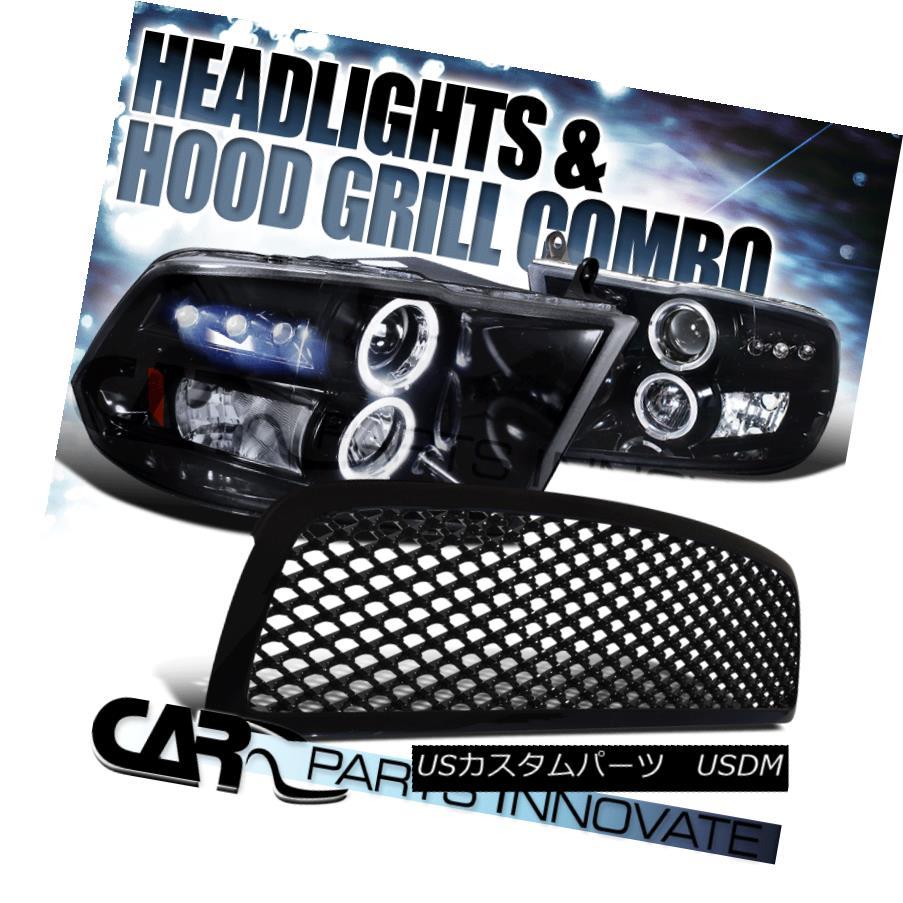 ヘッドライト Glossy Black 09-12 Ram 1500 Black Halo LED Projector Headlights+ABS Mesh Grille Glossy Black 09-12 Ram 1500 Black Halo LEDプロジェクターヘッドライト+ ABSメッシュグリル