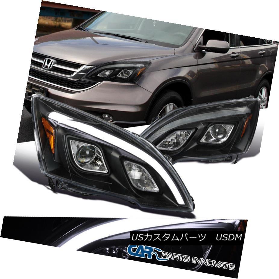 ヘッドライト For 07-11 Honda CR-V CRV Clear Projector Headlights LED DRL Lamps Black Pair 07-11ホンダCR-V CRVクリアプロジェクターヘッドライトLED DRLランプブラックペア