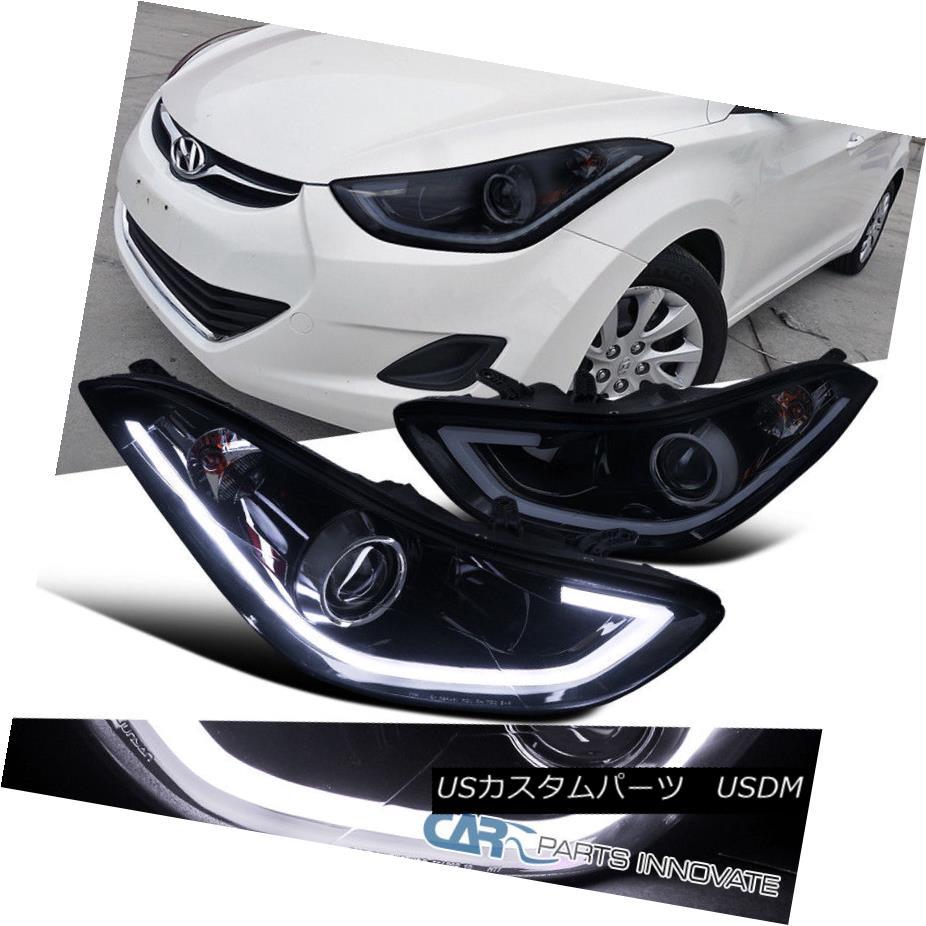 ヘッドライト Glossy Black For 11-13 Elantra 4Dr Sedan Smoke LED Projector Headlights Lamps 光沢ブラック11-13 Elantra 4Drセダン煙LEDプロジェクターヘッドライトランプ