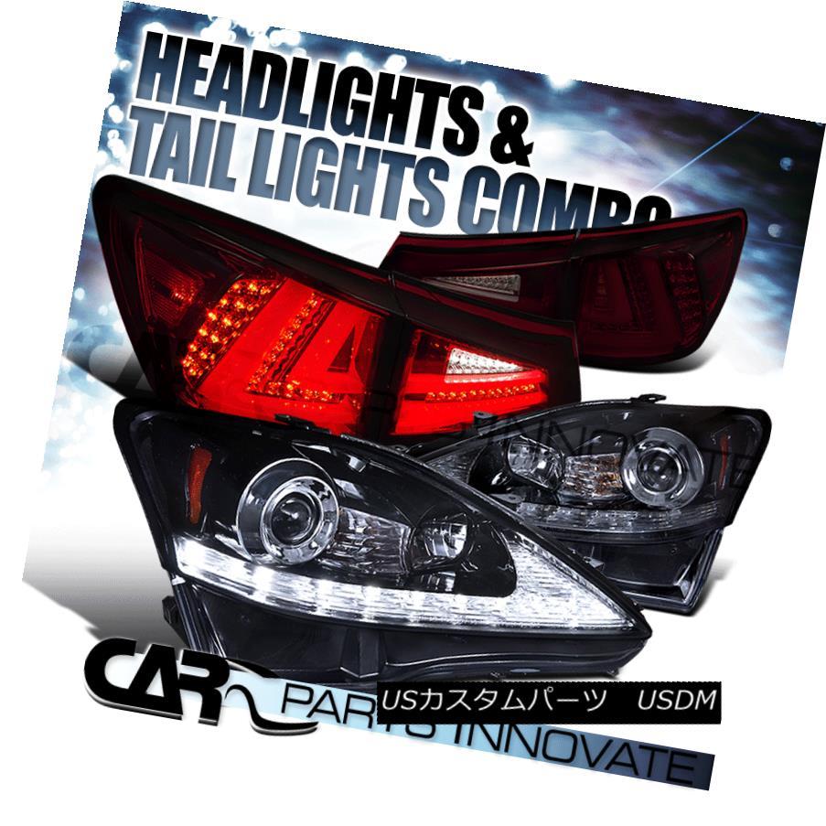 ヘッドライト 06-08 IS250 Glossy Black LED Signal Projector Headlights+Red/Smoke LED Tail Lamp 06-08 IS250光沢ブラックLEDプロジェクターヘッドライト+レッド /スモークLEDテールランプ