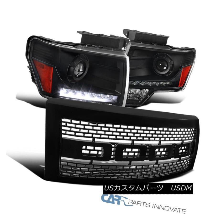 ヘッドライト Ford 09-14 F150 Black LED Projector Headlights+Raptor Style Glossy Black Grille フォード09-14 F150ブラックLEDプロジェクターヘッドライト+ラップ torterスタイルGlossy Black Grille