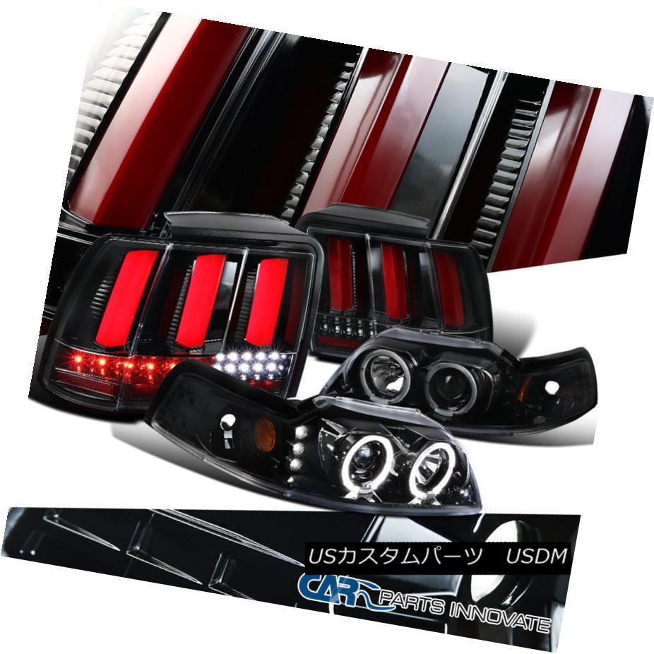 ヘッドライト 99-04 Mustang Pearl Black Halo Projector Headlights+LED Sequential Tail Lamps 99-04ムスタングパールブラックハロープロジェクターヘッドライト+ LEDシーケンシャルテールランプ