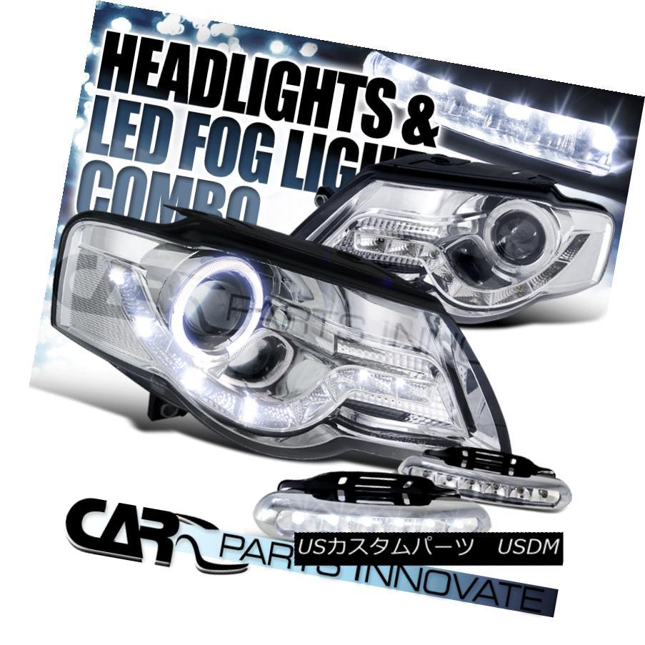 ヘッドライト Fit 06-10 VW Passat Chrome Halo SMD DRL Projector Headlights+6-LED Fog Lamps フィット06-10 VWパサートクロームハローSMD DRLプロジェクターヘッドライト+ 6-L  EDフォグランプ