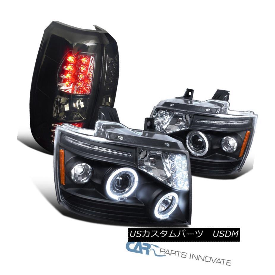 ヘッドライト 07-12 Chevy Avalanche Black LED Halo Projector Headlights+Smoke LED Tail Lights 07-12 Chevy Avalanche黒色LEDハロープロジェクターヘッドライト+スモーキー ke LEDテールライト