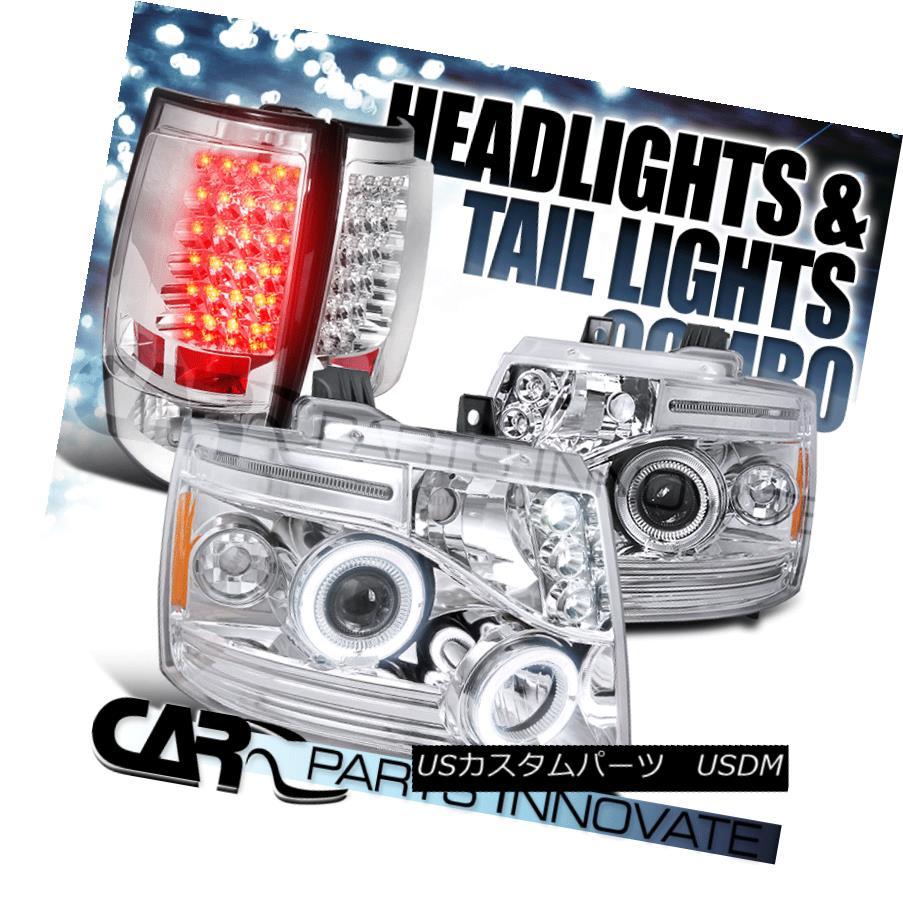 ヘッドライト 07-14 Chevy Tahoe Suburban Chrome LED Halo Projector Headlights+LED Tail Lamp 07-14 Chevy Tahoe郊外のクロームLEDハロープロジェクターヘッドライト+ LEDテールランプ