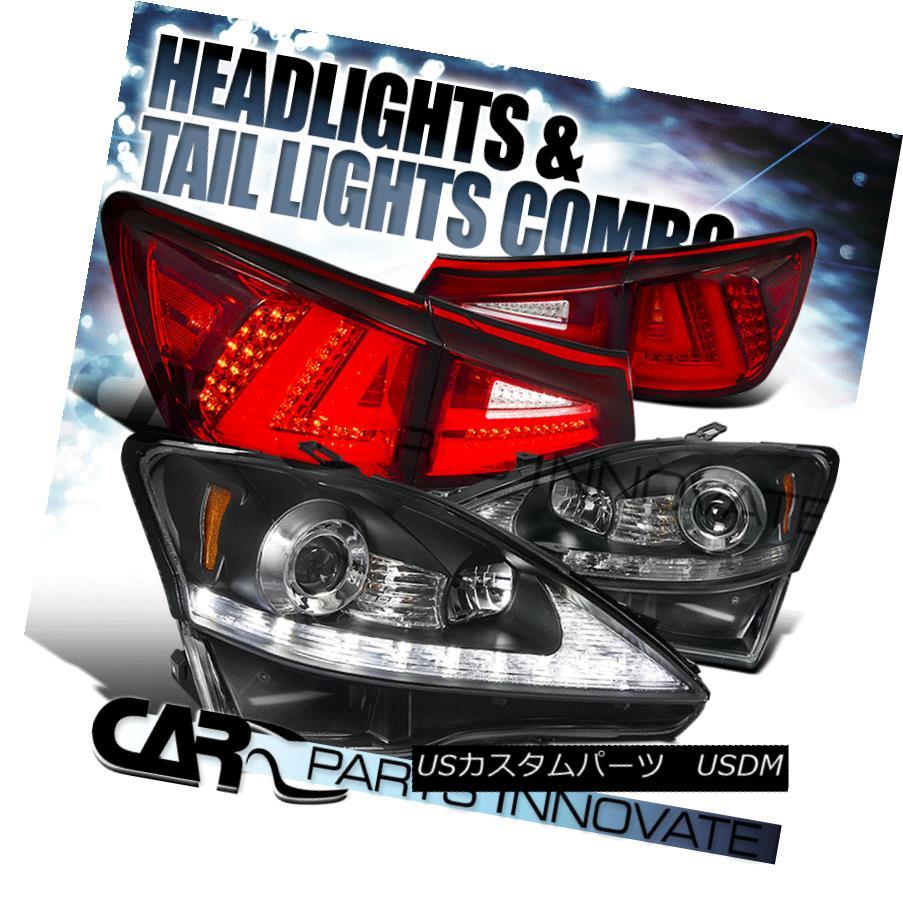 ヘッドライト 06-08 Lexus IS250 Black LED Signal Projector Headlights+Red/Clear LED Tail Lamp 06-08 Lexus IS250ブラックLEDシグナルプロジェクターヘッドライト+レッド /クリアLEDテールランプ