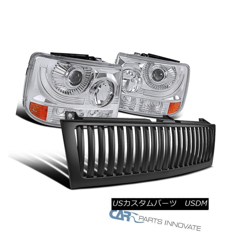 ヘッドライト Chevy 99-02 Silverado 2in1 Clear Projector Head Bumper Lights+Black Hood Grille Chevy 99-02 Silverado 2in1クリアプロジェクターヘッドバンパーライト+ブラックフードグリル