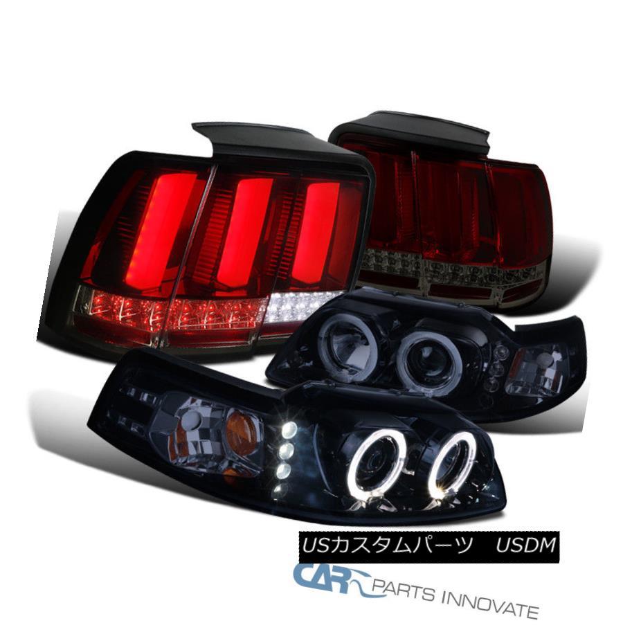 ヘッドライト Ford 99-04 Mustang Glossy Black Projector Headlights+Red/Smoke LED Tail Lamps フォード99-04 Mustang Glossyブラックプロジェクターヘッドライト+レッド /スモークLEDテールランプ