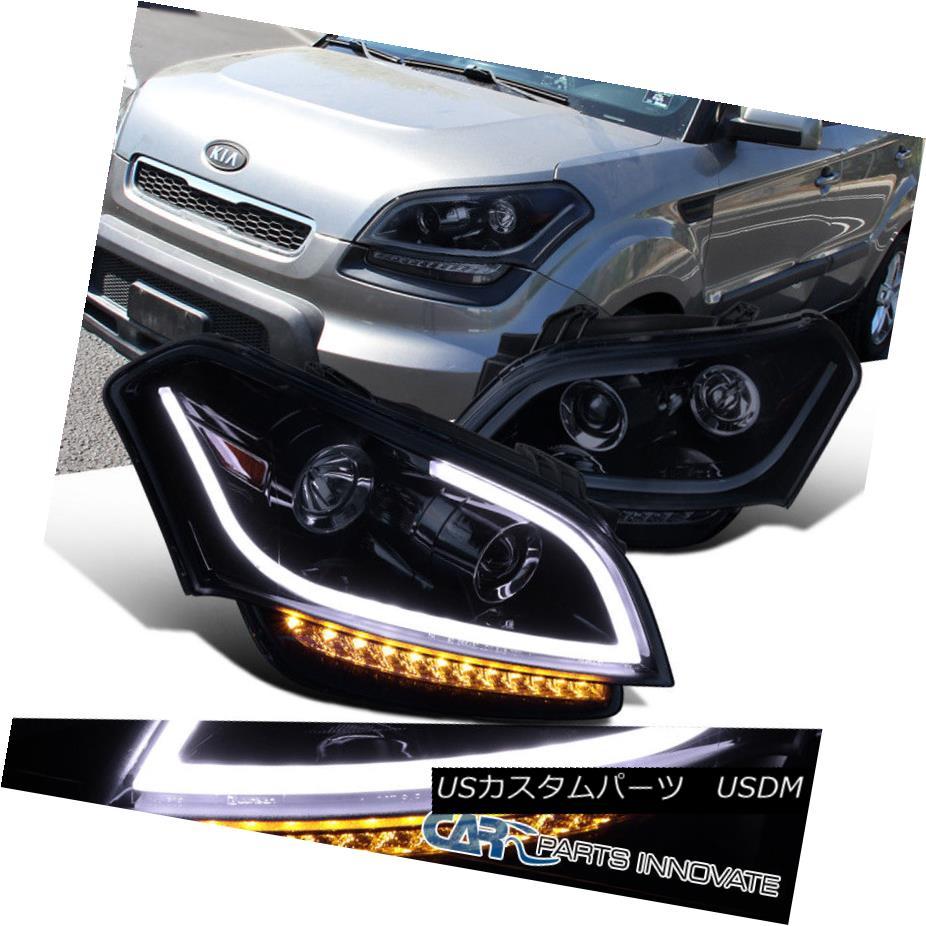 ヘッドライト For 10-11 Kia Soul Glossy Black Projector Headlights Headlamps+LED DRL Signal 10-11キアソウルグロッシーブラックプロジェクターヘッドライトヘッドランプ+ LED DRL信号用