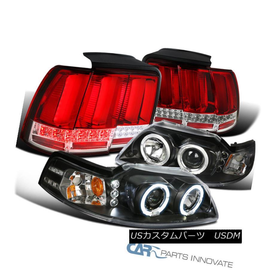 ヘッドライト Ford 99-04 Mustang Black Halo Projector Headlights+Red LED Sequential Tail Lamps フォード99-04ムスタングブラックハロープロジェクターヘッドライト+赤色LEDシーケンシャルテールランプ