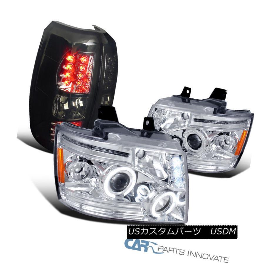 ヘッドライト 07-12 Chevy Avalanche Chrome LED Halo Projector Headlights+Smoke LED Tail Lights 07-12 Chevy Avalanche Chrome LEDハロープロジェクターヘッドライト+ Smo  ke LEDテールライト