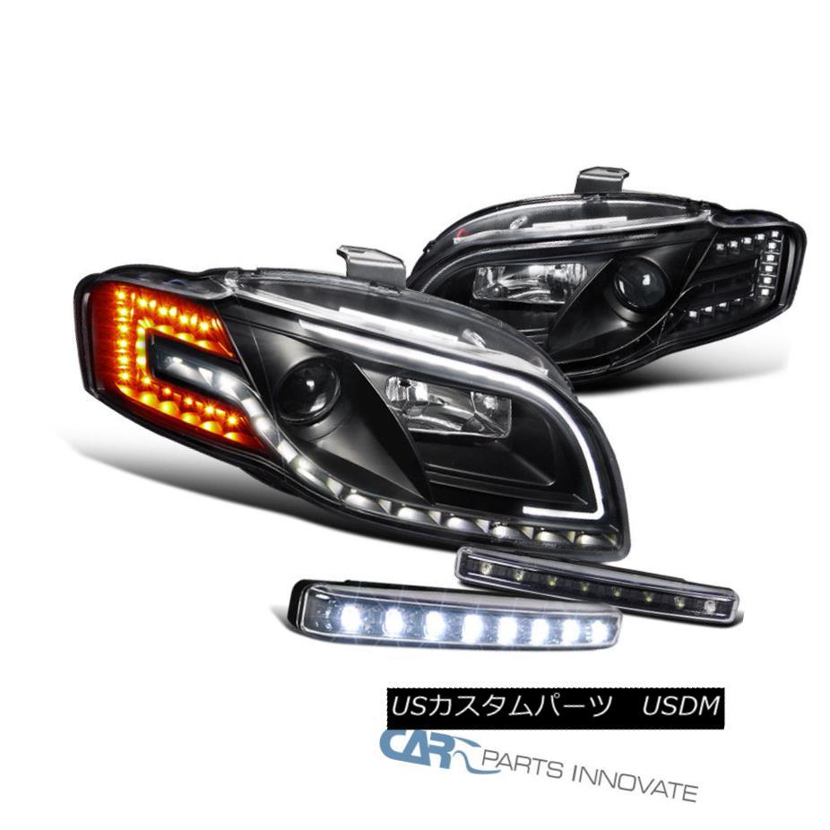ヘッドライト For 06-08 A4 Black Projector Headlights+Signal+Auto Leveling+8-LED Fog Lamps 06-08 A4用プロジェクターヘッドライト+ Sig  nal +オートレベリング+ 8-LEDフォグランプ