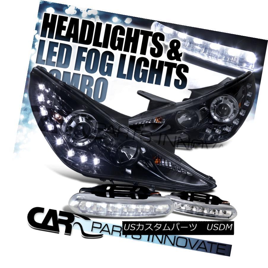 ヘッドライト Glossy Piano Black For 11-14 Sonata Smoke Projector Headlight+LED Fog Bumper DRL 光沢のあるピアノブラック11-14ソナタ用煙プロジェクターヘッドライト+ LEDフォグバンパーDRL