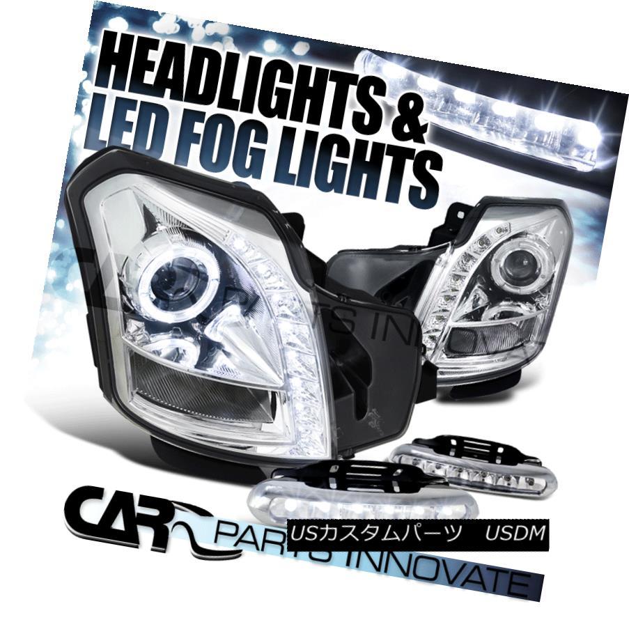 ヘッドライト 03-07 Cadillac CTS SMD DRL Chrome Halo Projector Headlights+6-LED Fog Lamps 03-07キャデラックCTS SMD DRLクロームハロープロジェクターヘッドライト+ 6-L  EDフォグランプ